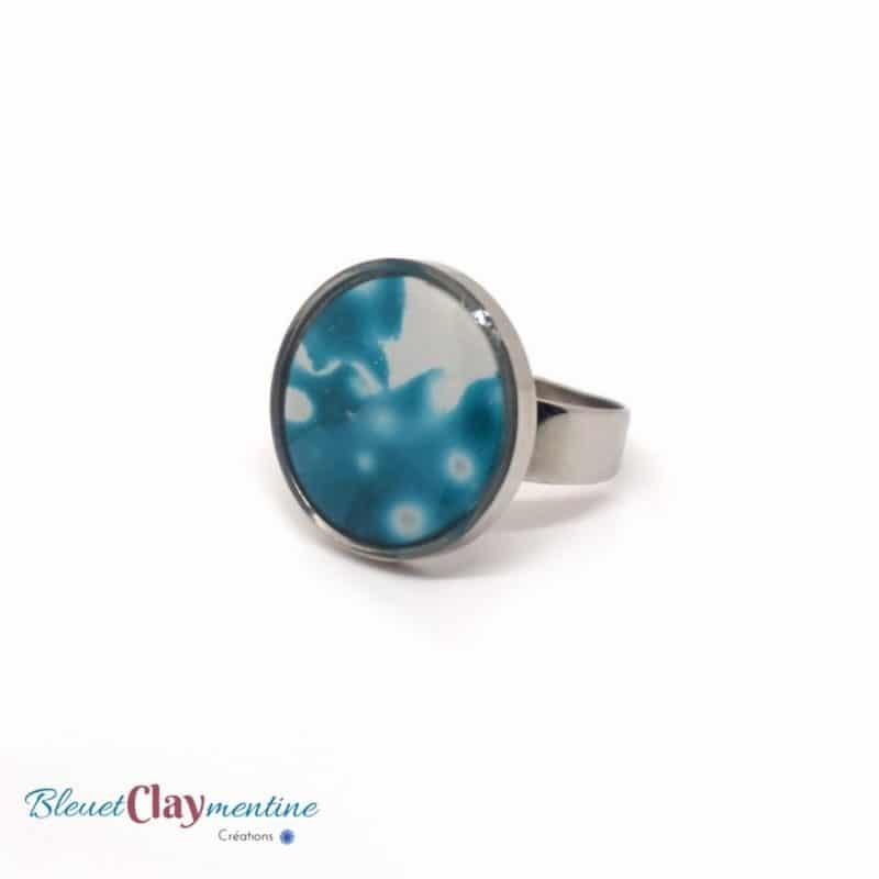 bague meteora bleu polymère
