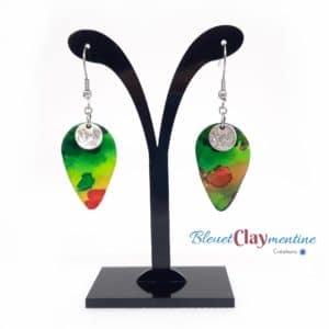 Boucles d'oreilles aquarelle verte et rouge