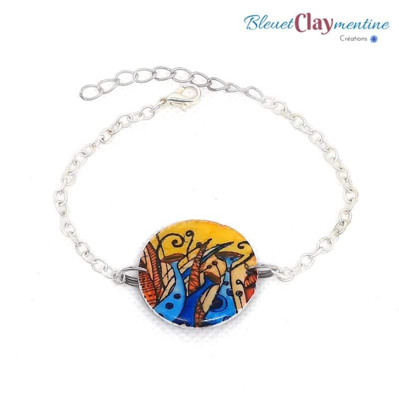 bracelet féerique champignons jaune et bleu polymère