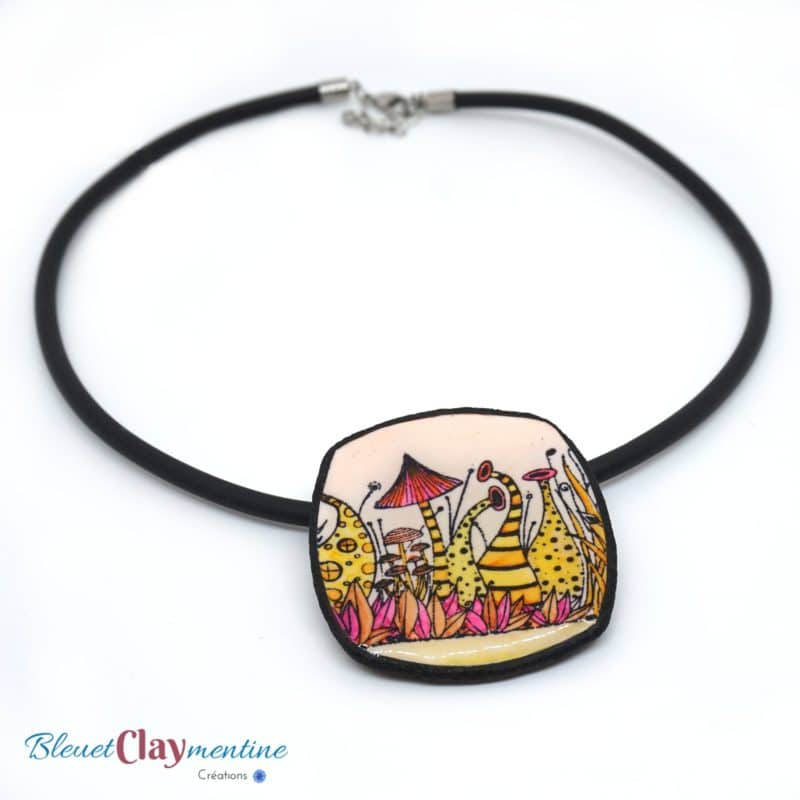 collier féerique savane jaune et rose polymerclay